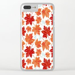 Autumn leaves against white Clear iPhone Case