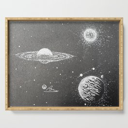 """Jupiter Vs. Saturn"" Original Outer Space Drawing, Jupiter Saturn Wal Art Serving Tray"