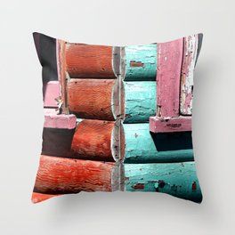 Turquoise and Red Throw Pillow