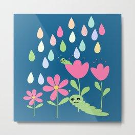 Caterpillars flowers and rain Metal Print