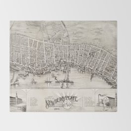 Vintage Pictorial Map of Newburyport MA (1894) Throw Blanket