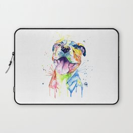 Pit Bull, Pitbull Watercolor Painting - The Softer Side Laptop Sleeve
