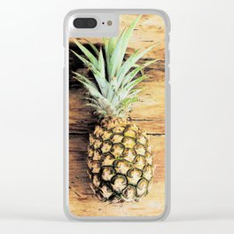 Pineapple on wood arty Clear iPhone Case