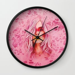 Girl with pink hair Wall Clock