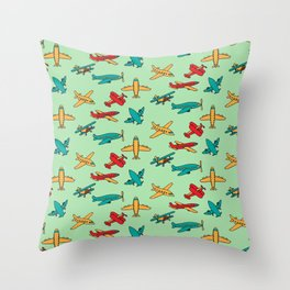 Airplanes - Green Throw Pillow