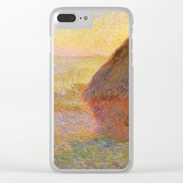 Haystacks, (Sunset) by Claude Monet Clear iPhone Case