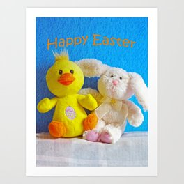 Happy Easter Chick + Bunny Art Print