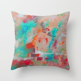 The Stone The Builders Rejected Aqua Orange Pink Throw Pillow