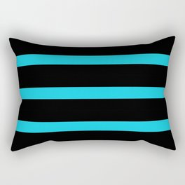 Hollywood Nights Black and Teal Stripes Rectangular Pillow