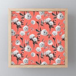 Peonies Mono Coral Framed Mini Art Print