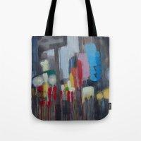 santa monica Tote Bags featuring Santa Monica by Elizabeth Grimes