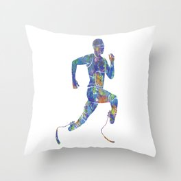 Runner athlete with prosthesis in watercolor Throw Pillow