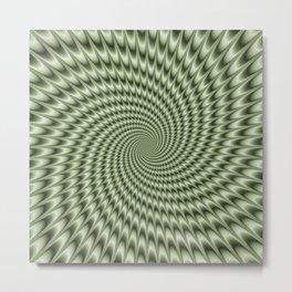 Dizzy Swirl in Green Metal Print