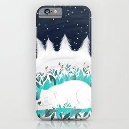 hibernating polar bear illustration iPhone Case
