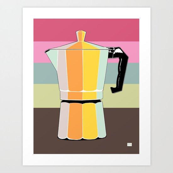 Retro Espresso Pot on Striped Conch Background Art Print