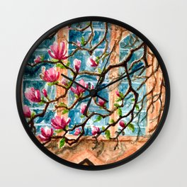 Magnolias by the chapel Wall Clock