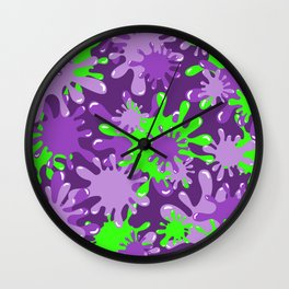 Slime in Green on Purples Wall Clock