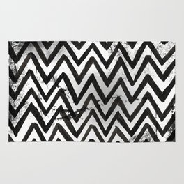Black Chevron Stripes Boho Designs soutwestern goth Rug