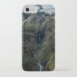 Panorama of hidden Waterfall in Iceland iPhone Case