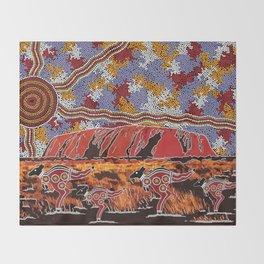 Uluru (Ayers Rock) Authentic Aboriginal Art Throw Blanket