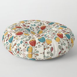 Vintage Ethno Flowers in red, blue and yellow on beige Floor Pillow
