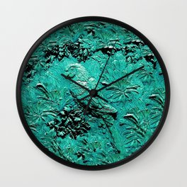 TURQUOISE TROPICAL MACAW PARROT JUNGLE ART Wall Clock
