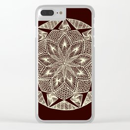 Maroon Mandala Clear iPhone Case
