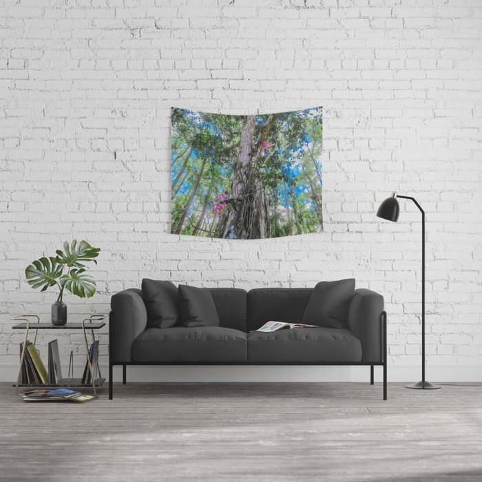 Orchids in the Tree Wall Tapestry