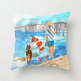 A Day at the Beach (finished) Throw Pillow