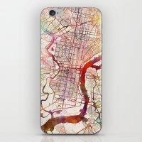 philadelphia iPhone & iPod Skins featuring Philadelphia by MapMapMaps.Watercolors