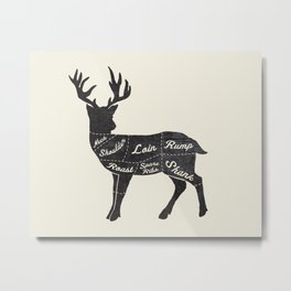 Venison Butcher Diagram-Deer Metal Print
