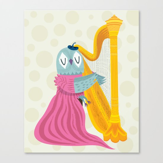 The Owl Harpist Canvas Print