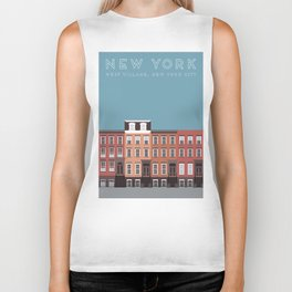 West Village, New York, NYC Travel Poster Biker Tank