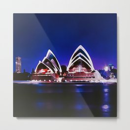 Night At The Sydney Opera House | Watercolor Painting Metal Print