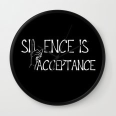 Silence is Acceptance Inverse Colors Wall Clock