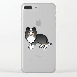 Tricolor Shetland Sheepdog Dog Cartoon Illustration Clear iPhone Case