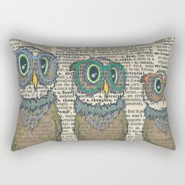 Owl wearing glasses Rectangular Pillow