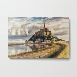 Mont Saint Michel castle painting, French island scenery, Normandy France nature, travel art poster Metal Print
