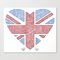 union jack Canvas Prints featuring Union Jack  by Joanne Hawker