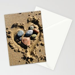 Stones in a Sandy Heart Stationery Cards