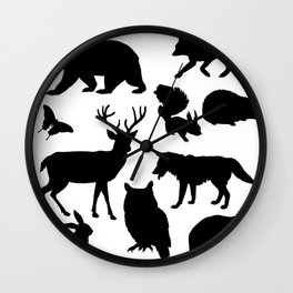 Black and White Animal Patterns Wall Clock