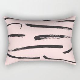 Minimalist Girly Black Pink Brushstrokes Art Rectangular Pillow