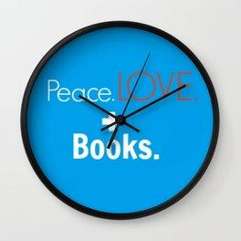 Peace. Love. + Books in Blue Wall Clock