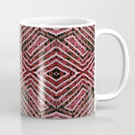Deep Red African Dye Resist Fabric Adire Boho Chic Coffee Mug
