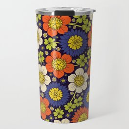 Purple, Orange, Yellow, Lime Green & White Retro Floral Pattern Travel Mug