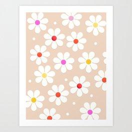 Seventies Daisies Pattern Art Print