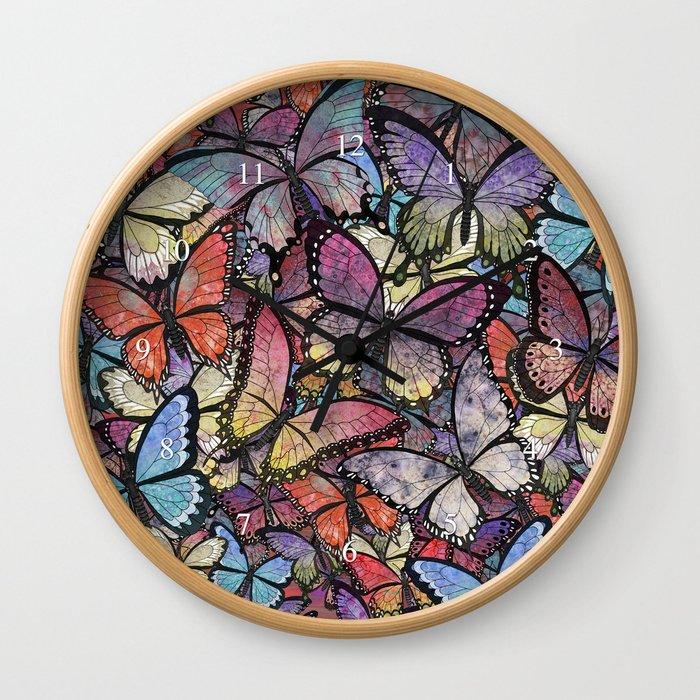 butterflies aflutter colorful version Wall Clock