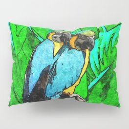 Two Macaws Parrots Couple of tropical Birds Pillow Sham