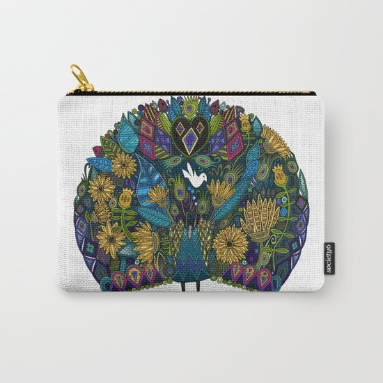 peacock garden white Carry-All Pouch