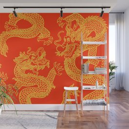 Red and Gold Battling Dragons Wall Mural